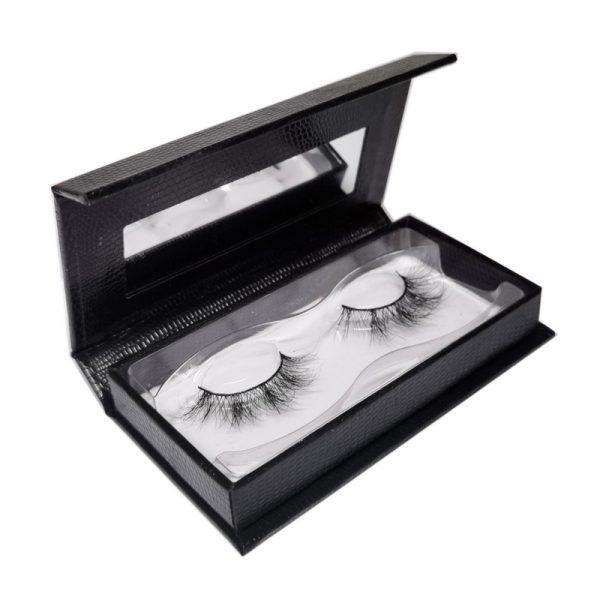 aurora eyelashes box with mirror-faux crocodile black